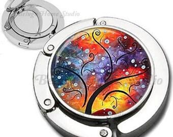 Whimsical Abstract Rainbow Tree Purse Hook Bag Hanger Lipstick Compact Mirror