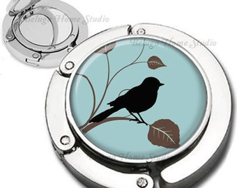 Delph Blue Brown Black Bird on a Branch Purse Hook Bag Hanger Lipstick Compact Mirror