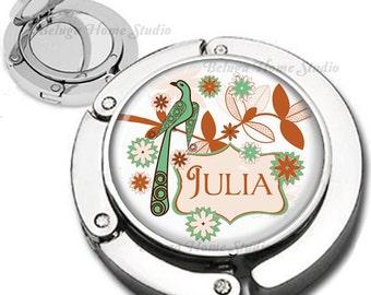 Wedding Bridesmaid Gifts Personalized Retro Stylized Bird Purse Hook Bag Hanger Lipstick Compact Mirror