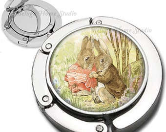 Vintage Storybook Rabbits Purse Hook Bag Hanger Lipstick Compact Mirror
