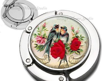 Shabby Chic Bird Couple and Roses Purse Hook Bag Hanger Lipstick Compact Mirror