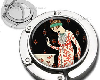 Woman and Fish Bowl Art Deco Lady Foldable Purse Hook Bag Hanger With Lipstick Compact Mirror