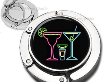Neon Cocktail Beverages Foldable Purse Hook Bag Hanger With Lipstick Compact Mirror