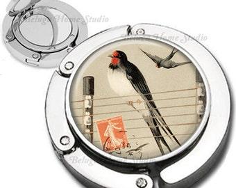Vintage Bird on Telephone Pole Wire Purse Hook Bag Hanger Lipstick Compact Mirror