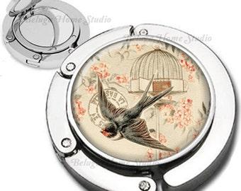 Vintage Bird Escaping the Birdcage Purse Hook Bag Hanger Lipstick Compact Mirror