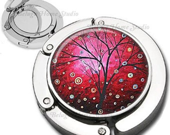 Red Sky Whimsical Tree Purse Hook Bag Hanger Lipstick Compact Mirror