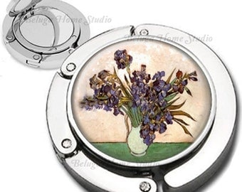 Van Gogh Iris Flowers in Vase Foldable Purse Hook Bag Hanger With Lipstick Compact Mirror