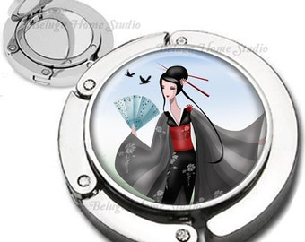 Geisha and Birds Foldable Purse Hook Bag Hanger With Double Sided Compact Mirror
