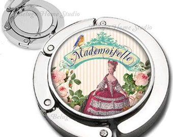 Madamoiselle Marie Antoinette and Bird Foldable Purse Hook Bag Hanger Compact Mirror