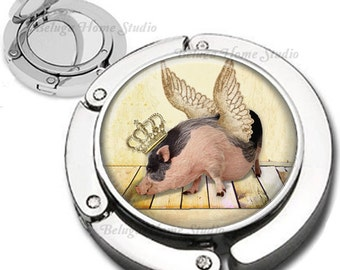 If Pigs Could Fly  Foldable Purse Hook Bag Hanger Lipstick Compact Mirror