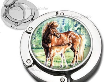 Mare and Foal Foldable Purse Hook Bag Hanger With Double Sided Compact Mirror