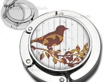 Abstract Brown Bird on Wood Grain Background Purse Hook Bag Hanger Lipstick Compact Mirror