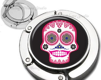 Colorful Sugarskull Purse Hook Bag Hanger Lipstick Compact Mirror