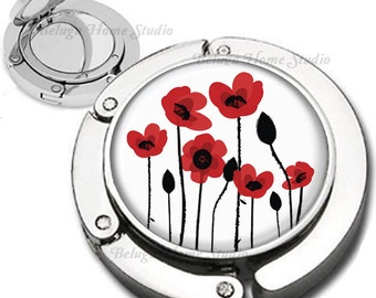 Red Poppy Flowers Illustration Purse Hook Bag Hanger Lipstick Compact Mirror