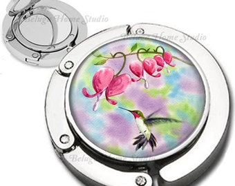 Watercolor Style Hummingbird  Pink Lady Slippers Purse Hook Bag Hanger Lipstick Compact Mirror