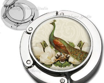 Vintage Peacock White Floral Compostition  Purse Hook Bag Hanger Lipstick Compact Mirror
