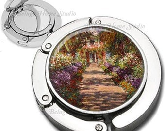 Monet Garden Path at Giverny Foldable Purse Hook Bag Hanger With Lipstick Compact Mirror