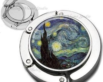 Van Gogh Starry Night Purse Hook Bag Hanger Lipstick Compact Mirror