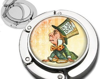 The Mad Hatter from Alice in Wonderland Foldable Purse Hook Bag Hanger Compact Mirror