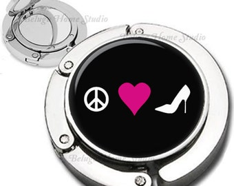 Peace Love Shoes Purse Hook Bag Hanger With Lipstick Compact Mirror