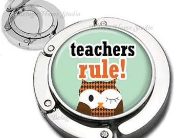 Teachers Rule Wise Old Owl Purse Hook Compact Mirror Foldable Bag Hanger