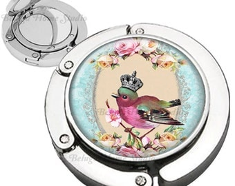 Crown Bird Roses Frame Shabby Chic Purse Hook Bag Hanger Lipstick Compact Mirror