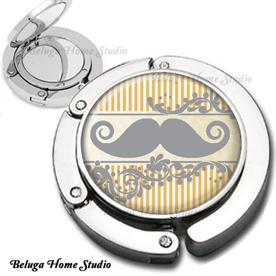 Wedding Bridesmaid Gifts Vintage Mustache Design in Gray and Yellow Foldable Purse Hook Bag Hanger With Lipstick Compact Mirror