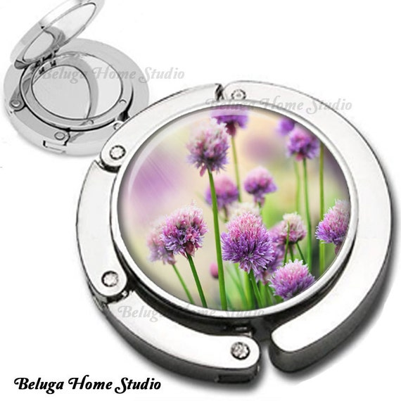 Purple Chives Altered Botanical Photo Purse Hook Bag Hanger Lipstick Compact Mirror