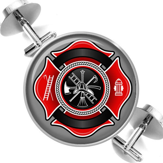 Cufflinks Fire Fighter Maltese Cross Firemen Symbol of Protection Groomsmen Wedding Party Fathers Dads Men