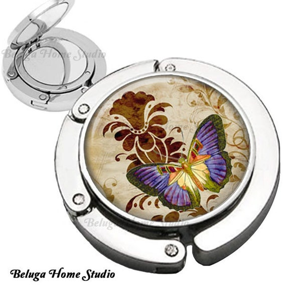 Butterfly Garden Purse Hook Mirror  Bag Hanger with Lipstick Compact Mirror Wedding Accessories and Favors