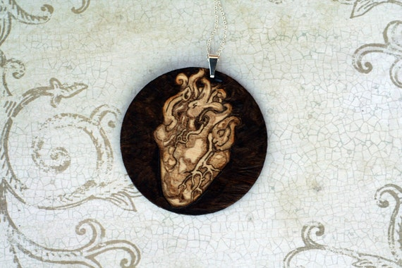 Anatomical Heart Necklace (Wood Burned / Pyrography) Free Shipping