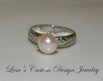 White Pearl  & Art Deco Sterling Silver Ring