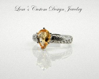 1.80ct Citrine gemstone sterling silver Art Deco Ring