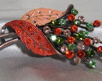 Stunning Rhinestone Brooch with Copper Flash
