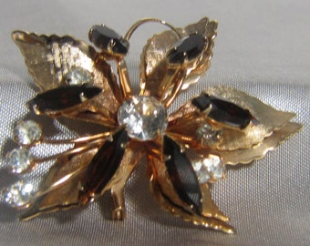 1950's Floral Amber and Clear Rhinestone Brooch