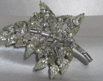 Classic 1960's White Rhinestone Leaf Brooch
