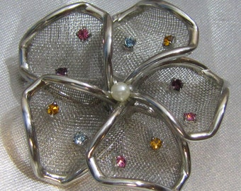 Vintage WEISS Silver Mesh Flower Brooch with Pearl Center