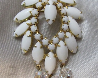 1960's Vintage White Glass and Borealis Crystal Brooch