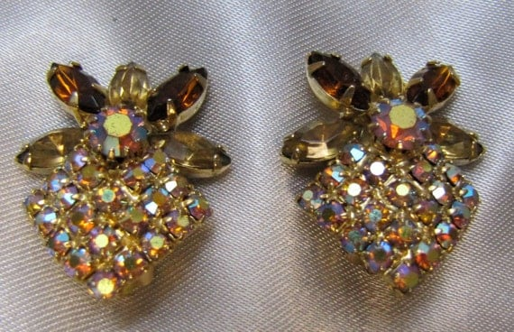 1950 Alice Caviness Gold Borealis Rhinestone Clip Earrings