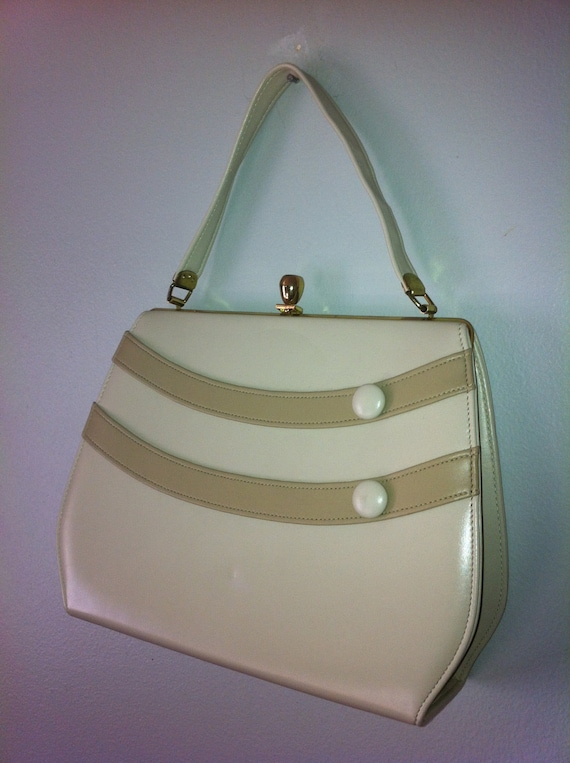 1960s Vintage Handbag Patent Leather -Two Toned with Stripes and Button Details