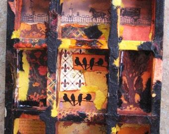 Autumn's Cool Embrace, An Altered Art Curio Shelf