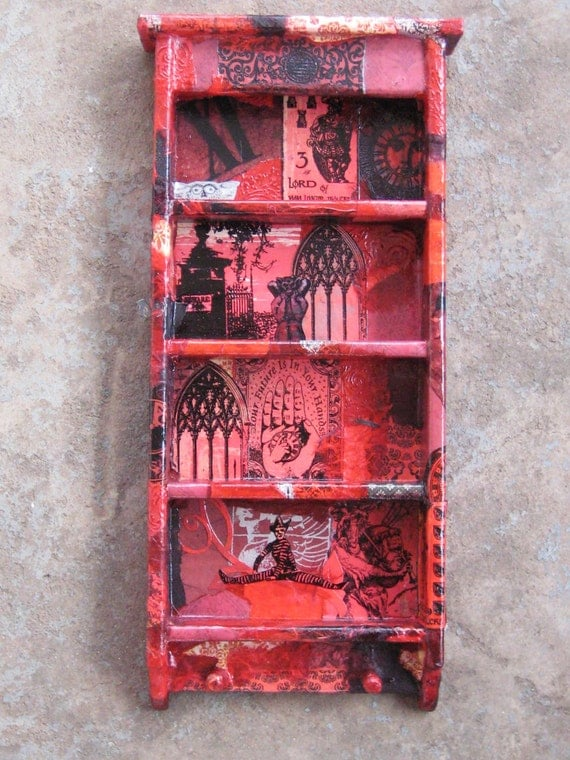 Mystical Curio Shelf in Dark Red