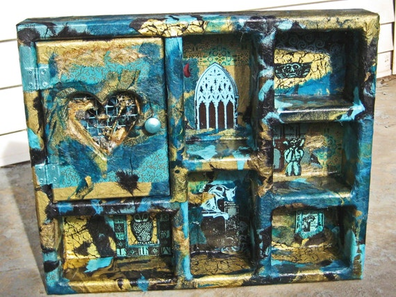Gothic Architecture in Turquoise Black and Gold Mixed Media Art Curio Wall Shelf
