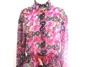CLEARANCE, Vintage Shirt, flower print, pink, fuchsia, chiffon, 80's, 90's, Size Small/ Medium, Floral shirt, 90s fashion