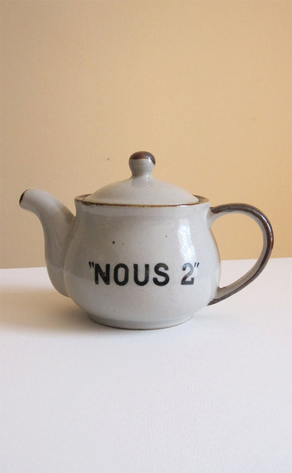 Vintage 'The Two Of Us' Industrial Grey Ceramic Tea Pot With French Lettering Perfect Gift