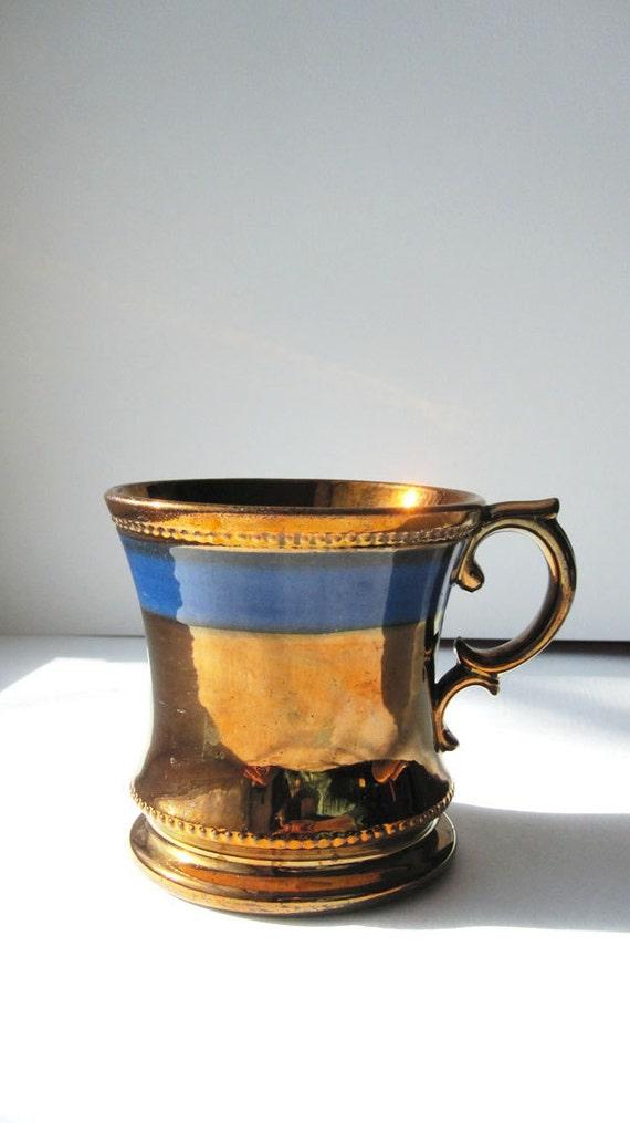 Vintage Antique Copper Lustre Pottery Patina Bronze Mug Cup