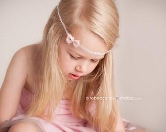 tiny Dancer : Newborn Headband  - Ivory - Newborn Photo Prop -  halo,  bow headband, head band, photography prop