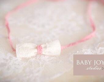 the Grace : Newborn Headband - Blush Pink - Newborn Photo Prop - halo, bow headband, head band, photography prop