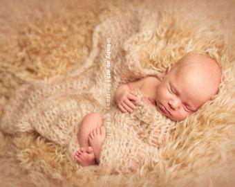 MINI BLANKET / WRAP - Fawn Tan - Newborn Photo Prop -  newborn wrap, maternity, photography