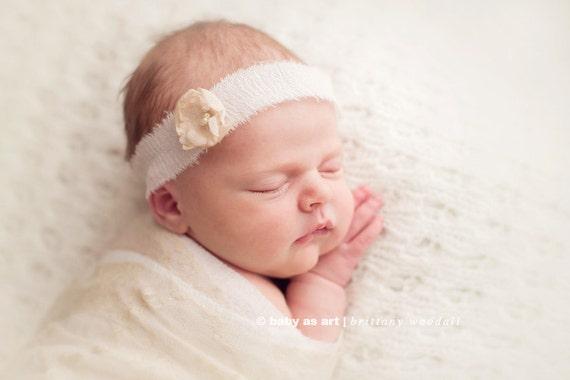 the Ethereal : Newborn Headband/ headwrap  - Pure White - Newborn Photo Prop -  halo,  flower headband, head wrap, newborn head band